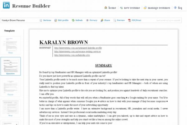 Hereu0027s The Resume Builder In Action  Profile On A Resume